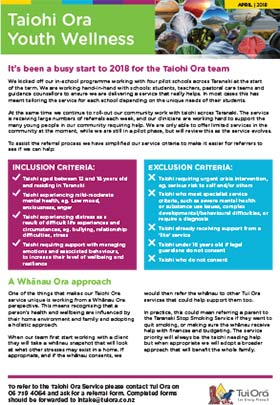 Taiohi Ora Youth Wellness newsletter April
